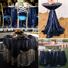 Champagne/ Gold / Silver Round/Square/Rectangular Sparkly Glitz Sequin Tablecloth Cover Glamorous For Event Table