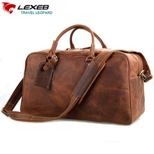 LEXEB Crazy Horse Vecchio Brown Leather Business Travel Bag For Suit, Carry On Luggage, Overnight Weekend Duffle Fit 17'' Laptop(China)