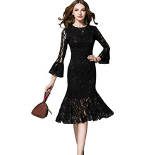 Summer 2017 Black Dresses Luxury Ladies Chic Lace Flare Sleeve Midi Mermaid Dress Sereia  Bodycon Runway Dress Vestido Renda
