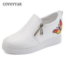 COVOYYAR Butterfly Pattern Women Casual Shoes 2018 Spring Autumn Hidden Wedge Shoes Platform Side Zip Women Sneakers WSN605(China)