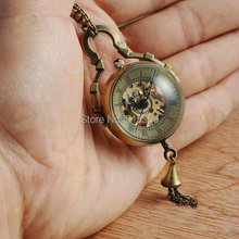 100pcs/lot Hot Selling Vintage Crystal ball Mechanical Pocket Watch Lady Necklace Hand Wind Pocket Watch For Women(China)