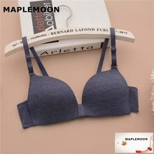 856 dark blue wire free students cute bra Girl underwear Thin section young Women Bras Cotton Push Up Padded girls sexy solid(China)