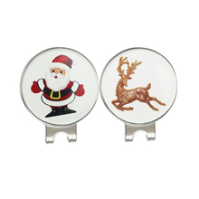 Christmas Santa & Reindeer Golf Ball Markers with 2 Magnetic Golf Hat Clips Silver Color Nickle Finish