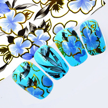 100cmx4cm 2017 Elegant Designs Blue Flower Nail Art Transfer Foils DIY Polish Glue Adhesive Decals for Nails Toes STZXK51(China)