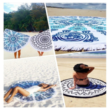 100% Cotton Round Beach Towel 150*150cm/59*59'' Bath Towel Tassel Decor Geometric Printed Bath Towel Summer Style 1pcs/lot MYJ(China)