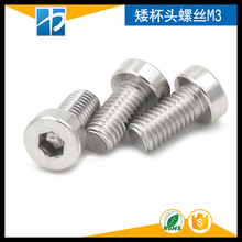 (50 pc/lot) M3,M4 *L sus304 stainless steel hex socket thin head cap model auto diy screw,DIN7984(China)