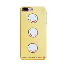 2017 Fashion cartoon internet hot star love yellow three smile phiz imd process cosy feel soft tpu cell phones case For Iphone(China)