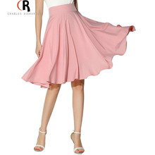 Midi Skirt 2017 Summer Women Clothing High Waist Pleated A Line Skater Vintage Casual Knee Length Saia Petticoat(China)
