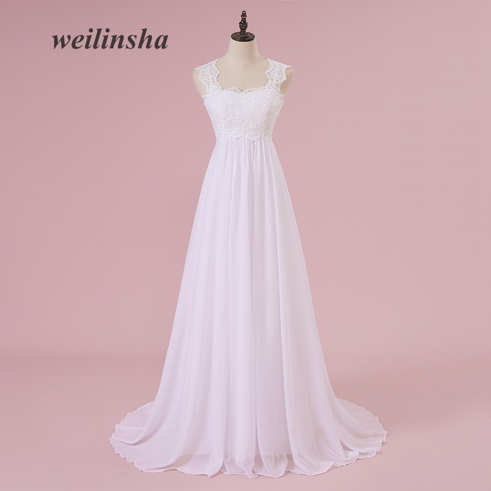 weilinsha Beach Lace White Wedding Dresses Chiffon Pregnant Brides ...