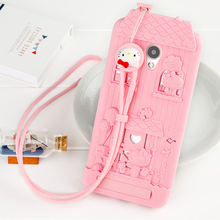 For Meizu MX6 3D Cute Cartoon Fabitoo Hello Kitty Phone Case Soft Silicone Back Cover With Lanyard