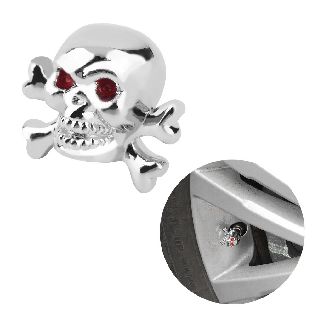 1pc Sliver Universal Fancy Pirate Skull Tire Tyre Air Valve Stem Caps for Auto Car Truck Motorcycle Bike Wheel Rims 4