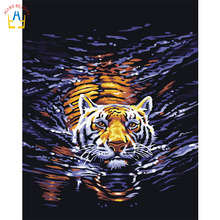 Tiger Oil Painting Coloring By Number Home Decor DIY Hand Painted Wall Pictures By Numbers Canvas Art PosterQuadros E102