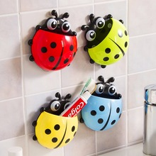Cute Ladybug Toothbrush Holder Wall Mount Suction Sucker Hook Home Bathroom Set