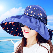 2017 New Foldable Sunshade UV Protection Wide Brim Sun Hat For Women Summer Visor Hat Beach Cap Panama Chapeau Femme Gorra Mujer