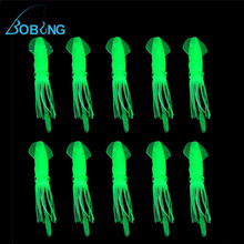 Bobing 30pcs/lot hot sale 4.3 Inch B2 Fishing Soft Plastic Octopus Squid Bodies Luminous Light Green Lures Glow In Dark