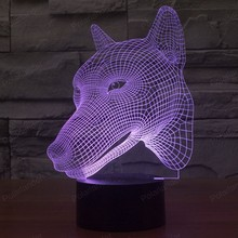 Acrylic3D Led Illusion Lamp Stunning Visual Dog Head Dimensional Effect USB Touch Switch 7 Colors Changes Nightlight Lights