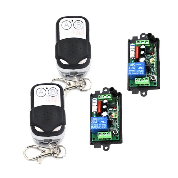 Learning code AC 110V 220V 2*2CH Metal AB Button Transmitter &amp; 2* 10A 1CH Receiver RF Wireless Remote Control Switch SKU: 5409<br><br>Aliexpress