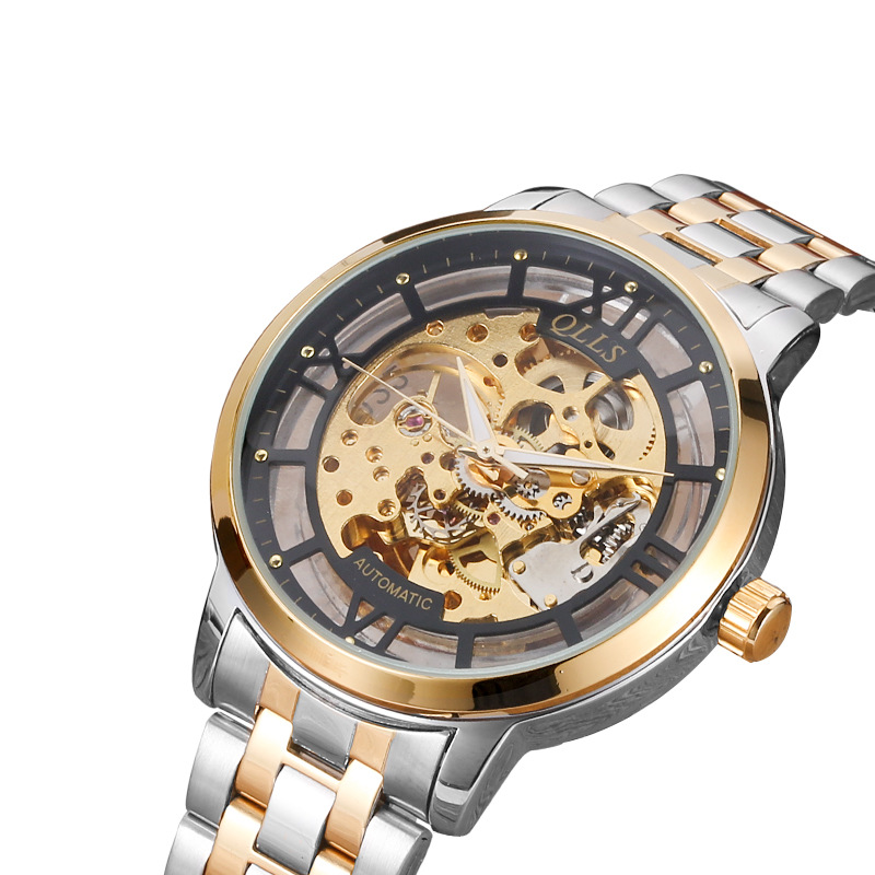 2017 QLLS gold skeleton watch Top Brand Luxury watch for men Stainless Steel Automatic Mechanical Wristwatches reloj hombre<br>
