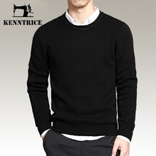 Kenntrice Casual Business Style Sweaters Men Basic Sweater Formal Black Pullovers Winter Slim Design Knitwear Solid Large Size