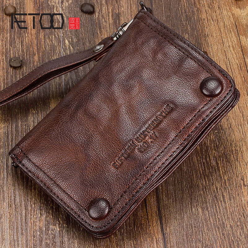 AETOO Original punk style handmade vertical retro wallet men short leather mens youth fold lambskin<br>