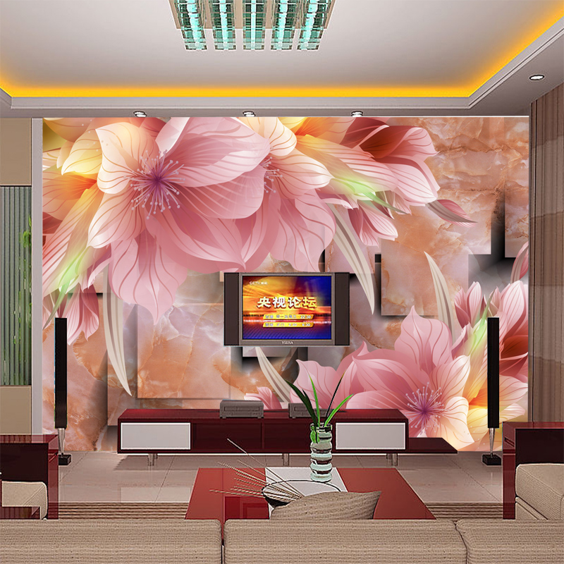 3D stereoscopic fantasy lilies wallpaper mural modern minimalist living room sofa TV background wallpaper<br><br>Aliexpress