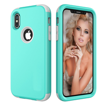 For New iPhone X Phone Cases Sturdy Hard+Soft Silicone Cover Heavy Duty Full Body Shockproof Shell Popular Case for iPhone X 5.8