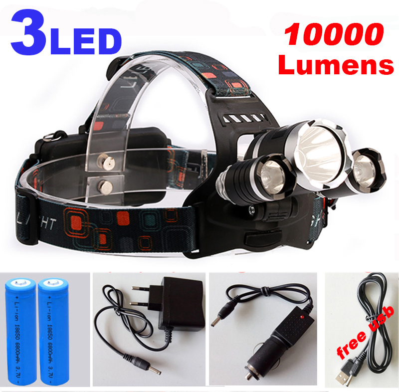 10000Lm CREE XML T6+2R5 LED Headlight Headlamp LED Head Lamp Headlight LED 4-mode torch +2x18650 battery+ charger fishing Lights<br><br>Aliexpress