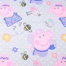 1 meter thicken pulp plain cotton fabric with cartoon thomas dog patrol party pink pig print, handmade DIY quilt cloth CR-A1