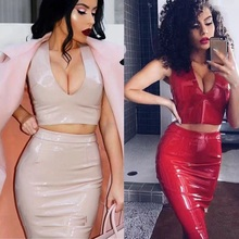 Buy Babatique PU leather women summer dress latex sexy bodycon two piece black suit tank shoulder midi party dresses vestidos
