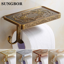 Wholesale And Retail Antique Carving Toilet Roll Paper Rack Phone Shelf Wall Mounted Bathroom Paper Holder And hook GJ-11308(China)