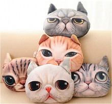 Free Shipping Cute Pillow 35*30cm 3D Stereo Cat Cushions Plush Toy Washable Pillow Decorations for Home Home textiles(China)