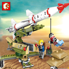Sembo block Black Gold Military series building blocks Helicopter army rocket weapons enlighten toys for children Christmas gift(China)
