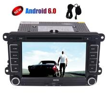 2 Din 7'' Car Stereo Quad-core Android 6.0 GPS In Dash Bluetooth DVD Player for VW Golf Polo Passat+Wifi+CanBus+External Micro(China)