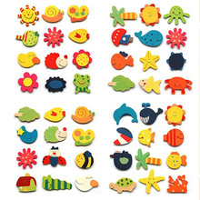 12pcs/pack  Colorful Kids Wooden Magnet Cartoon Pattern Kitchen Fridge Magnet Stickers Children Educational Toy Birthday Gift