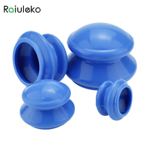 Raiuleko 4pcs Natural Silicone Cupping Therapy Set Health Care Small Body Anti Cellulite Vacuum Silicone Massager Cupping Cups(China)