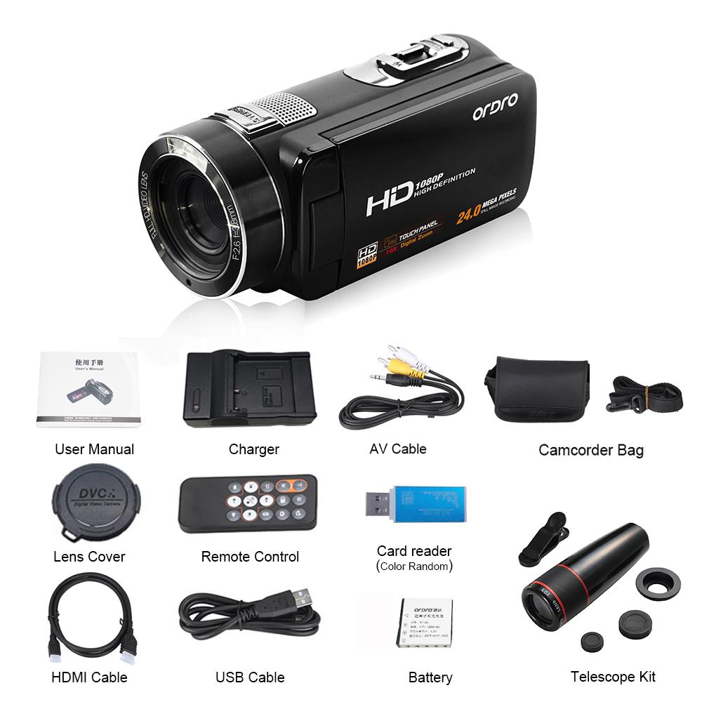 Ordro Camcorder HDV-Z18 Plus 1080P FHD Digital Video Camera Recording with 12X Teleconverter Remote Control HDMI Output 11