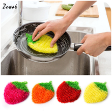 Fruit Shaped Dish Scrubber Sponge Non-scratch Strawberry Home Kitchen Tool Bowls Pan Washing Cleaning Cloth Scouring Tableware