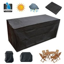 Outdoor Furniture Cover Sofa Chair Patio Polyester + PVC Coated Garden Patio Table Desk Waterproof Black Silver Color Durable