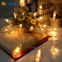 LumiParty 2M LED Photo Clip String Lights Battery Powered 20 Clips Christmas Lights Outdoor Party Supply Wedding Home decoration