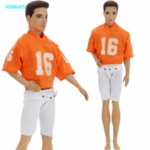 1:6 Sport Outfit Orange Rugby Uniforms Short Sleeves White Pants Clothes For Barbie Ken Doll American Football Accessories Gift