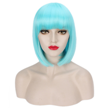 Shumeier 8Colors Pink/Blue/Black Short Bob Synthetic Hair Cosplay Wigs For Women,Heat Resistant Fiber Daily Full Hair