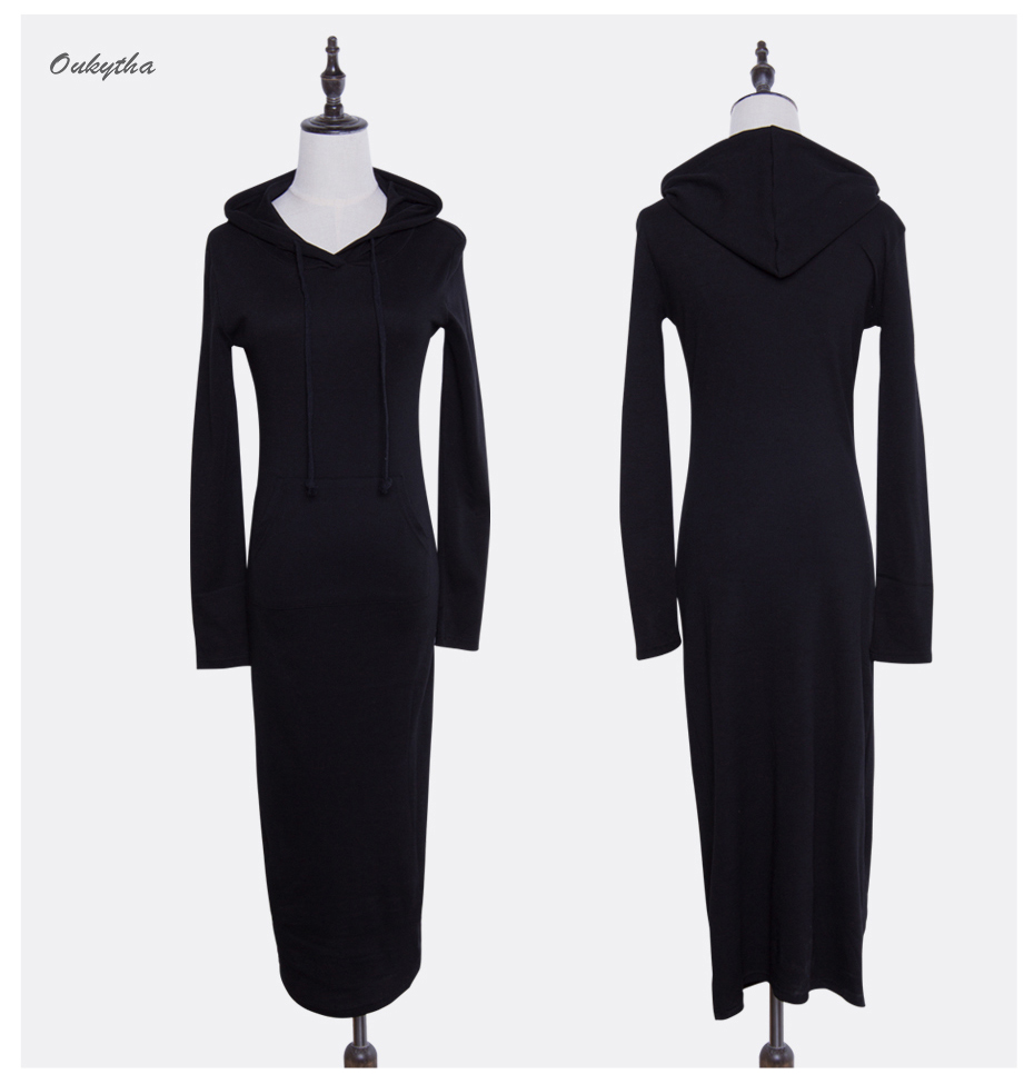 Oukytha 17 New Autumn&Winter Casual Long A-line Ankle-length Dress Hooded Pockets Cotton Long Sleeves Lady Thick Dress M15322 12
