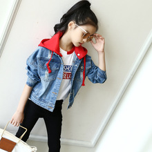 2017 New Kids Girls Denim Jacket Coat Casual Ripped Removable Hooded Coat Fashion Short Jacket Spring Autumn Children Outerwear(China)