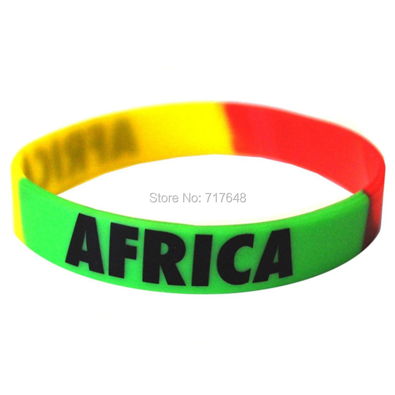 100pcs Flag AFRICA wristband silicone bracelets free shipping by FEDEX