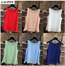 Summer Shirts Beach Women Chiffon Blouses Fashion Sleeveless Blouse Tops Casual Blusas Blue Women Chiffon Blusas Plus Size