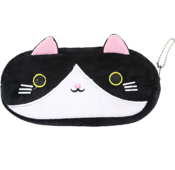 Plush Pencil Case School Supplies For Girls Stationery Office Cute Kawaii Cartoon Cat Pen Bag pouch kits Kids Gift Makeup bag (9)
