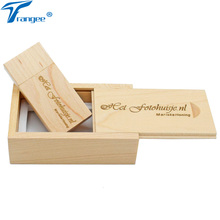 Trangee Personalized Wood USB Flash Drive 4gb 8gb 16gb 32gb USB 2.0 Stick Pendrive with Wooden Gift Box (Over 5PCS free logo)(China)