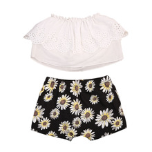 2017 Summer Newborn Baby Girls Sleeveless Hollow Tops +Sunflower  Shorts 2pcs  Outfits Clothes Size 0-24M