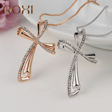 ROXI Long Women Necklaces Lucky Cross Crystal Pandent Chain Rose Gold collier femme Necklaces & Pendants for Women