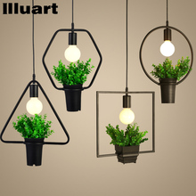 Vintage pendant Lamp Iron Plant Retro light With Pots Restaurant Bar Hanging Light Chandeliers  Counter Bar Living Room